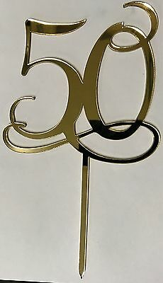 50 Acrylic Gold Mirror Wedding Cake Topper FREE AUSTRALIA POST