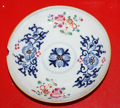 Antique Chinese Hand Drawing Underglazed blue+Polychrome Clobbered Dish A/F