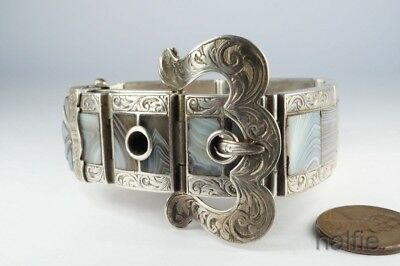 ANTIQUE VICTORIAN SCOTTISH SILVER LACE AGATE BELT / BUCKLE BRACELET c1880's