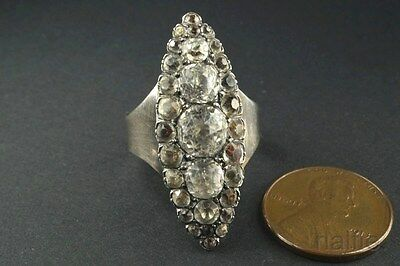 ANTIQUE LATE VICTORIAN ENGLISH STERLING SILVER FOILED PASTE NAVETTE RING c1880