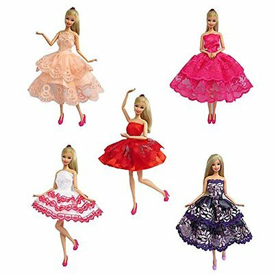 Stylish 5Pcs Mini Handmade Dresses Clothes Outfit For Barbie Doll Kids Toy Gift