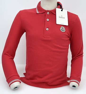 Moncler Junior Boy Polo Shirt Long Sleeve Red Code 51 952 8301405
