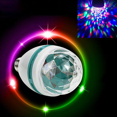 RGB E27 LED Party Disco Light Leuchte Bühne Drehen Bunte Birne Lampe Lichteffekt