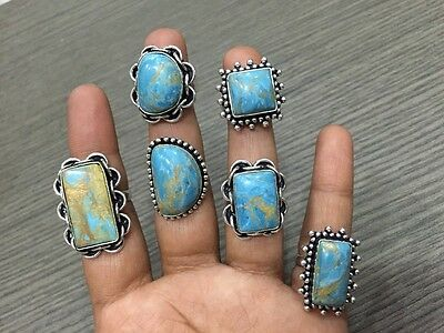 WHOLESALE LOT 6 pcs COPPER TURQUOISE STONE.925 SILVER PLATED RINGS 49 GMS