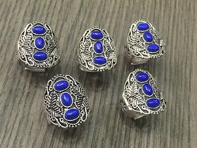 WHOLESALE LOT 5 pcs LAPIS LAZULI STONE.925 STERLING SILVER OVERLAY RING 30 GMS