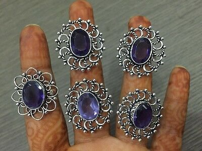WHOLESALE LOT 5 pcs AMETHYST STONE.925 SILVER PLATED DESIGNER RINGS 32 GMS