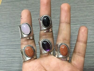WHOLESALE LOT 5 pcs RED SUNSTONE & MULTI-STONE.925 SILVER PLATED RING 27 GMS