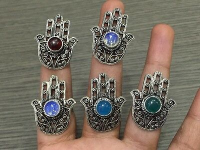 WHOLESALE LOT 5 pcs FIRE OPAL & MULTI-STONE.925 SILVER PLATED HAND SHAPED RING