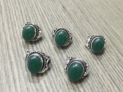 WHOLESALE LOT 5 pcs GREEN ONYX STONE.925 STERLING SILVER OVERLAY RING 39 GMS