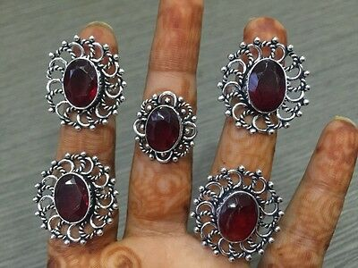WHOLESALE LOT 5 pcs GARNET STONE.925 SILVER PLATED DESIGNER RINGS 31 GMS