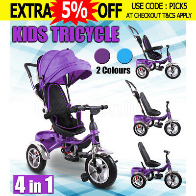 4 In 1 Baby Toddler Pram Stroller Kids Reverse Tricycle Bike Trike Ride-On Toys