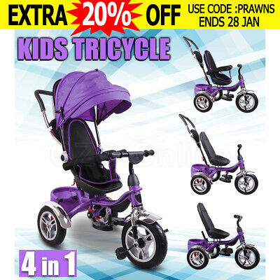 4 In 1 Baby Toddler Pram Stroller Kids Reverse Tricycle Trike Ride-On Toy Purple