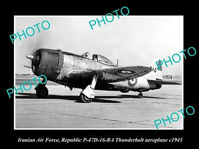 Old Large Historic Photo Of Iran Air Force, Republic Thunderbolt Plane 1945
