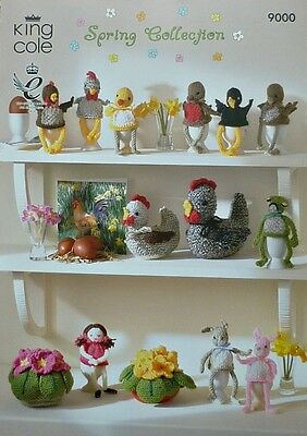 KNITTING PATTERN Selection Easter Soft Toys Hens Egg Cosy Flowers DK KC 9000