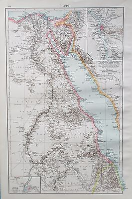 Map of the River Nile. 1895. EGYPT. AFRICA. CARIO Original Antique