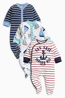 BNWT baby boys 3pk Nautical Boat Sleepsuits 0-3 months NEXT