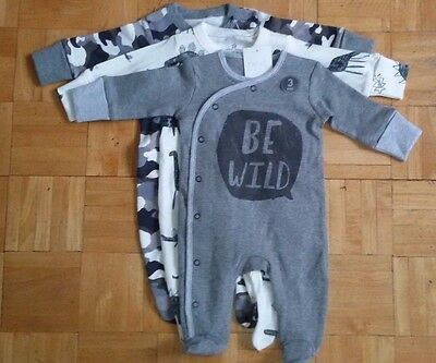 BNWT baby boys 3pk BE WILD Sleepsuits NEWBORN 0-1,3-6 month NEXT