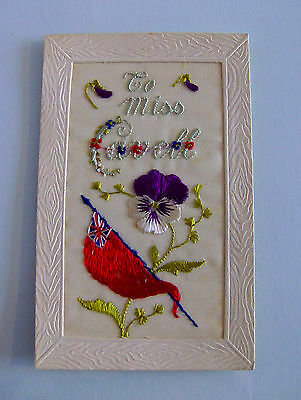 Vintage WW1 Silk Embroidered 'To Miss Cavell' Postcard