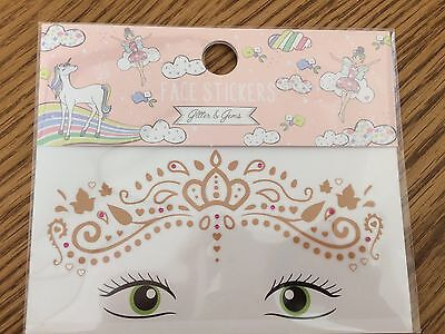 Festival Party Queen Face Gem Stickers Pink Body Art Jewels