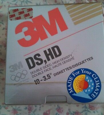 "3M DS HD 3.5"" diskettes pack of 10 1.44mb. Factory sealed. Free postage USA"