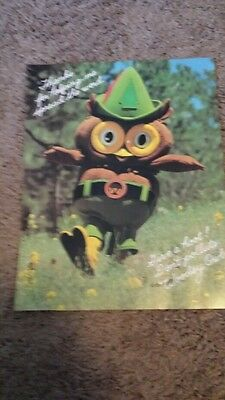 """Vintage Woodsy Owl Give A Hoot Don't Pollute 8.1/2"""" x 11"""" Poster 80s"""