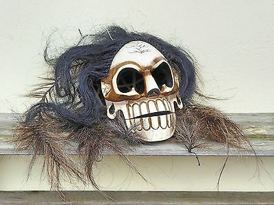 Unusual Wooden Hand Carved Skull Monkey Full Head Mask With Hair.....