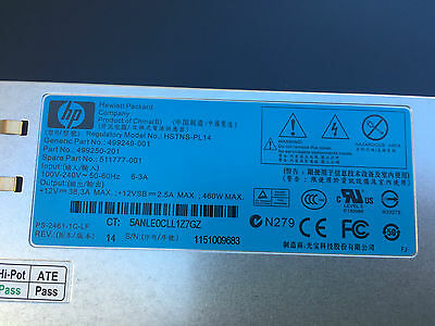 HP 460W Gold Hot Plug Power Supply 511777-001 499249-001 499250-201 HSTNS-PL14