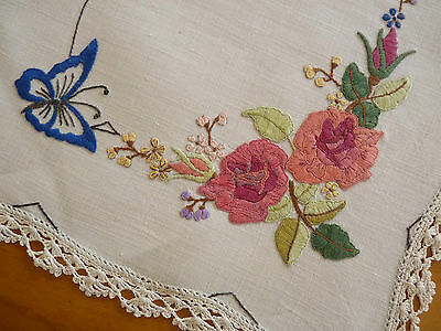 BUTTERFLIES & ROSES Vintage Hand Embroidered Duchess / Dressing Table Set