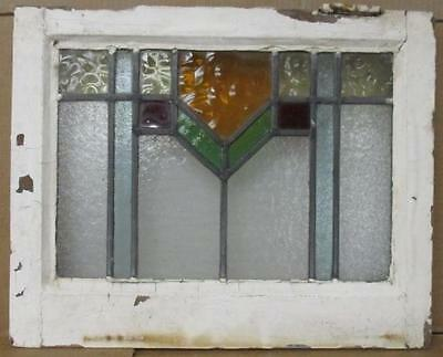 "OLD ENGLISH LEADED STAINED GLASS WINDOW Pretty Abstract Geometric 18"" x 14.5"""