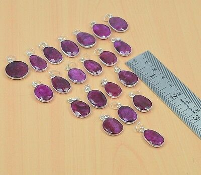 925 Silver Plated Wholesale 21 Pc Lot Faceted Red Ruby Pendant Lot