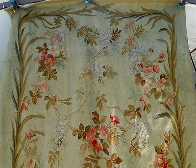 """Aubusson large  French antique tapestry 19th-century floral decor 120"""" x 48 """""""