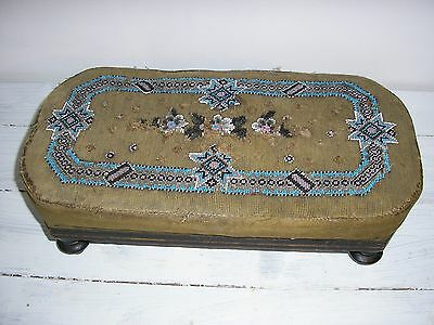 Victorian rectangular footstool - Upholstered wtih faded and worn beadwork