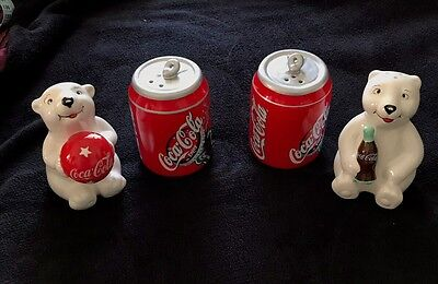 LOT Vintage Coke Coca Cola Salt and Pepper Shakers Polar Bears and Cans Ceramic