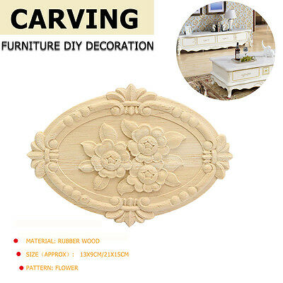2/4Pcs Wood Carved Onlay Applique Unpainted Flower Door Furniture Decor Craft