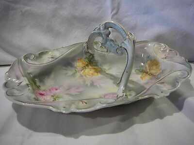 S20 Antique German Royal Bayreuth Porcelain Yellow Pink Rose Basket Tray Dish 8""