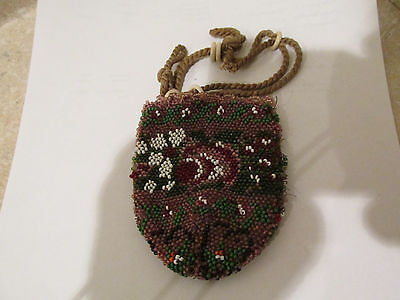 S38 vintage native american Indian Iroquois beaded bag coin change purse purple