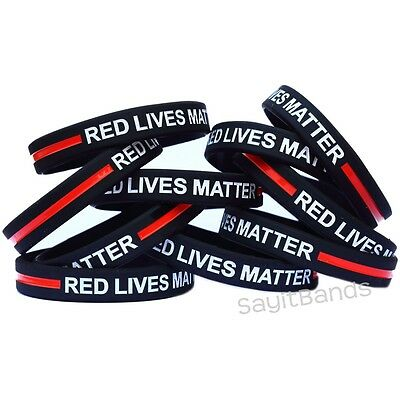 Thin RED Line Bracelets Fire Fighter /& Department Awareness Wristband Lot