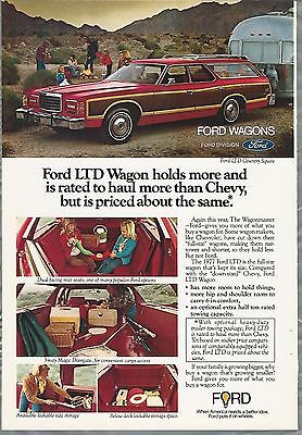 1977 FORD LTD Country Squire advertisement, LTD Wagon pulling Airstream trailer