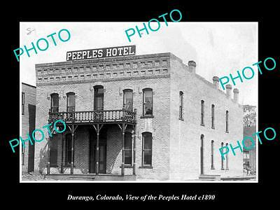 OLD LARGE HISTORIC PHOTO OF DURANGO COLORADO, VIEW OF THE PEEPLES HOTEL c1890