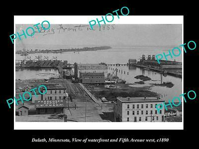 OLD LARGE HISTORIC PHOTO OF DULUTH MINNESOTA, VIEW OF THE WATERFRONT c1890