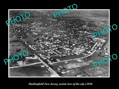 OLD LARGE HISTORIC PHOTO OF HADDONFIELD NEW JERSEY, AERIAL VIEW OF CITY c1930