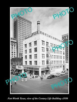 OLD LARGE HISTORIC PHOTO OF FORT WORTH TEXAS, THE CENTURY LIFE BUILDING c1950