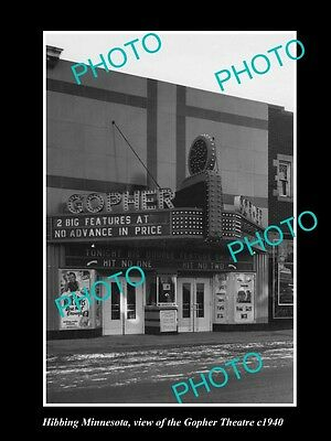OLD LARGE HISTORIC PHOTO OF HIBBING MINNESOTA, VIEW OF THE GOPHER THEATRE c1940
