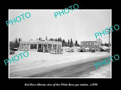 OLD LARGE HISTORIC PHOTO OF RED DEER ALBERTA, THE WHITE ROSE OIL Co STATION 1950