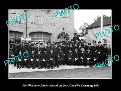 OLD LARGE HISTORIC PHOTO OF FAR HILLS NEW JERSEY, THE FIRE DEPARTMENT CREW c1951