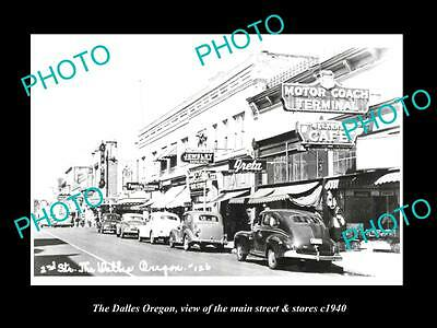 OLD LARGE HISTORIC PHOTO OF THE DALLES OREGON, THE MAIN St & STORES c1940