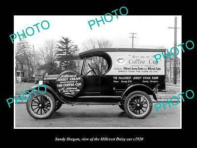 OLD LARGE HISTORIC PHOTO OF SANDY OREGON, THE HILLCREST DAIRY TRUCK c1920