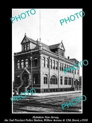 OLD LARGE HISTORIC PHOTO OF HOBOKEN NEW JERSEY, THE 2nd P/C POLICE STATION c1910