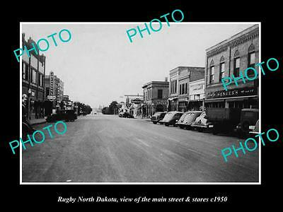 OLD LARGE HISTORIC PHOTO OF RUGBY NORTH DAKOTA, THE MAIN St & STORES c1950