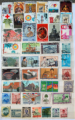 Fine Collection of Different Used Thailand Stamps.